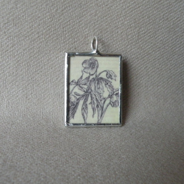 California poppy, daisy flowers, vintage seed packet illustrations up-cycled to soldered glass pendant