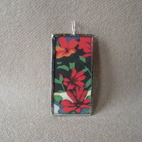 Red poppy, oriental poppy, vintage book illustrations up-cycled to soldered glass pendant
