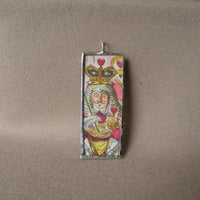 Queen of Hearts, Alice in Wonderland, original illustrations from vintage book, up-cycled to soldered glass pendant