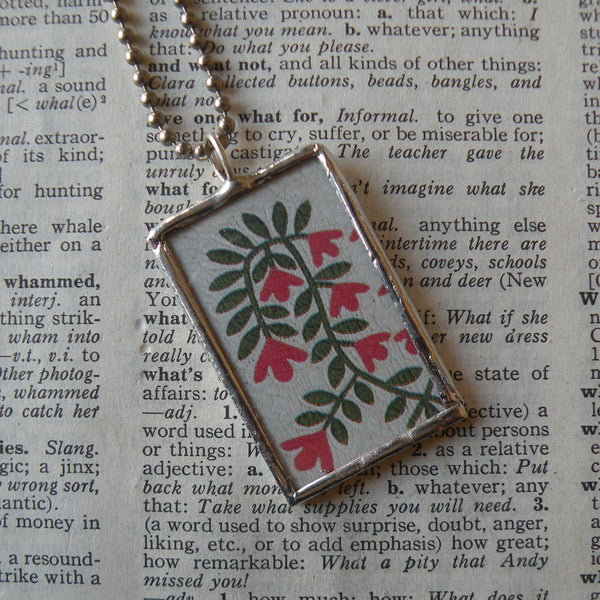 Antique quilt with floral design, American folk art image upcycled to 2-sided hand soldered glass pendant