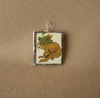 Little rabbits, vintage children's book illustration up-cycled to soldered glass pendant