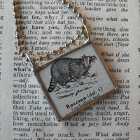 Raccoon, vintage 1940s dictionary illustration, up-cycled to hand-soldered glass pendant