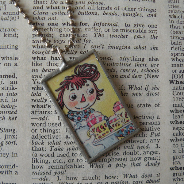 Raggedy Ann, original vintage 1950s book illustrations, upcycled to soldered glass pendant