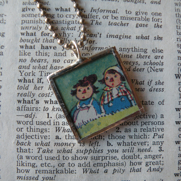 Raggedy Ann, Andy, original vintage 1950s book illustrations, upcycled to soldered glass pendant