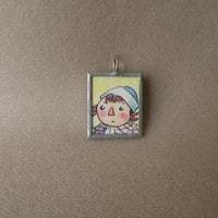 1Raggedy Ann, Andy, original vintage 1950s book illustrations, upcycled to soldered glass pendant