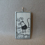 Little mouse, vintage children's book illustration up-cycled to soldered glass pendant