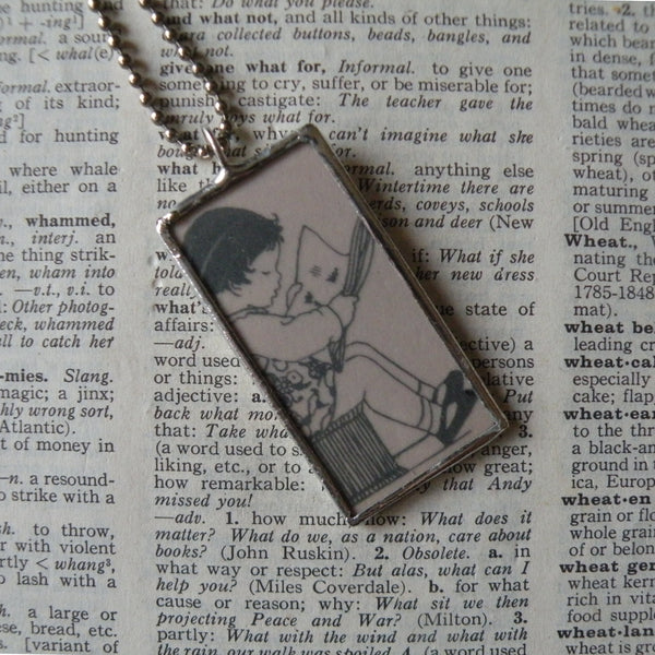Girls reading books, vintage children's book illustrations up-cycled to soldered glass pendant