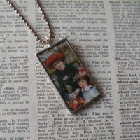 Renoir, Two Sisters, French impressionist paintings, upcycled to soldered glass pendant