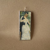 Renoir, Dance in the City and portrait, French impressionist paintings, upcycled to soldered glass pendant