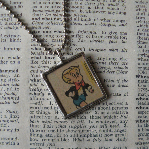 Richie Rich, vintage 1970s comic book illustrations, upcycled to soldered glass pendant