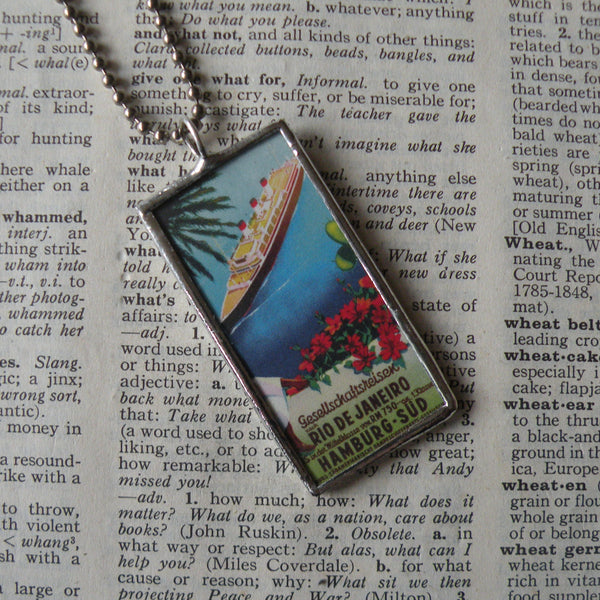 Rio de Janiero, Brazil, vintage travel poster / postcard illustrations, upcycled to soldered glass pendant
