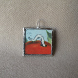 Inchworm, robin, vintage children's book illustration, upcycled to soldered glass pendant