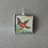 Robin and honey bee, vintage children's book illustrations, up-cycled to soldered glass pendant