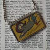 Rocky and Bullwinkle, original vintage comic book illustrations, upcycled to soldered glass pendant