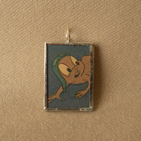 Rocky & Bullwinkle, original vintage 1970s comic book illustrations, upcycled to soldered glass pendant