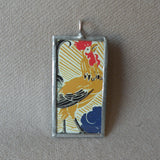 Rooster at sunrise, French art deco advertising illustration, upcycled to soldered glass pendant