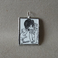 Girls with flower and teddy bear, vintage children's book illustrations up-cycled to soldered glass pendant
