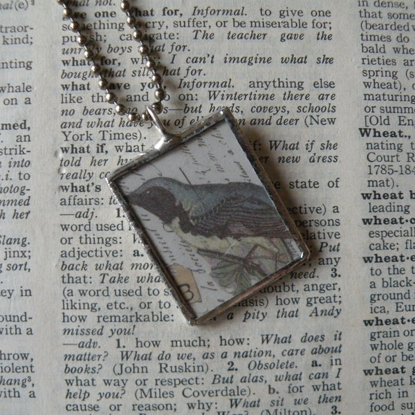 Mountain bluebird, rose / flowers, vintage natural history illustrations up-cycled to soldered glass pendant