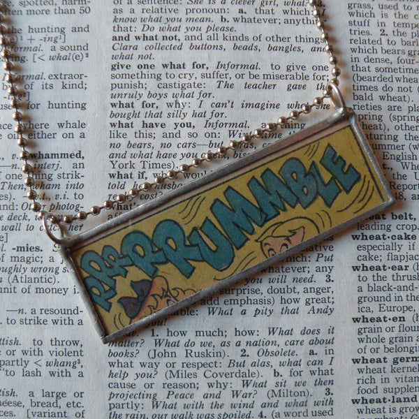 R-R-R-RUMBLE, onomatopoeia, vintage comic book illustration, upcycled to soldered glass pendant
