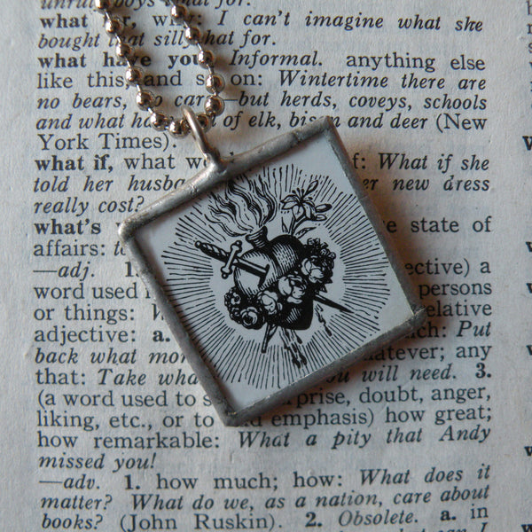 Sacred Heart, Jesus, vintage religious iconography, upcycled to soldered glass pendant