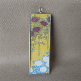 Japanese woodblock print, sailboat on lake scene, up-cycled to soldered glass pendant