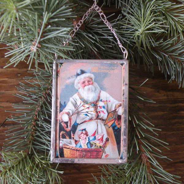 Santa Claus, Saint Nicholas, Victorian children, vintage European Christmas postcard, upcycled to hand-soldered glass Christmas tree ornament