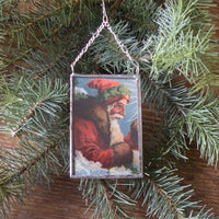 1Santa Claus, Saint Nicholas, candles, vintage European Christmas postcard, upcycled to hand-soldered glass Christmas tree ornament