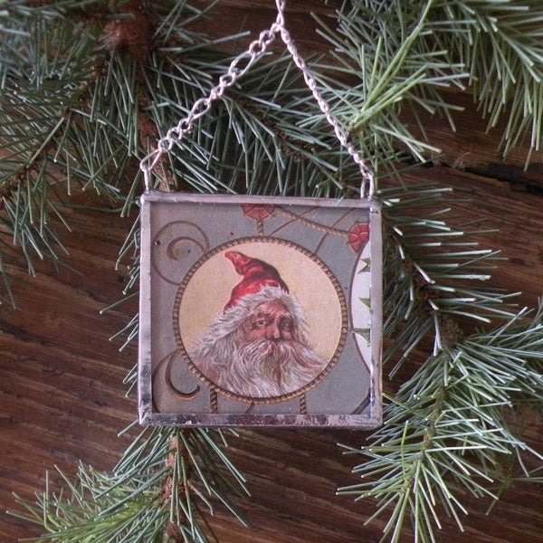 Santa Claus, Saint Nicholas, vintage European Christmas postcard, upcycled to hand-soldered glass Christmas tree ornament