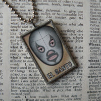 Mexican Wrestler, El Luchador, Mexican Loteria cards up-cycled to soldered glass pendant