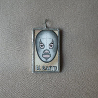 1Mexican Wrestler, El Luchador, Mexican Loteria cards up-cycled to soldered glass pendant