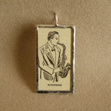 Saxophone, music, musician, vintage dictionary illustration up-cycled to soldered glass pendant