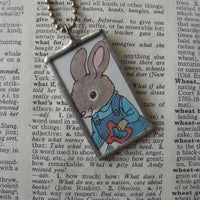 Richard Scarry raccoon, rabbit, original illustrations from vintage book, up-cycled to soldered glass pendant