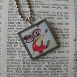 Richard Scarry, rabbit, butterfly, original illustrations from vintage book, up-cycled to soldered glass pendant