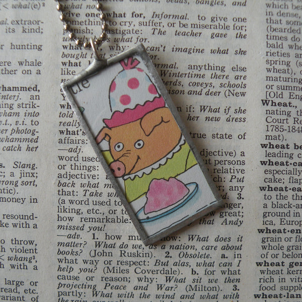 Richard Scarry pig and cat, original illustrations from vintage book, up-cycled to soldered glass pendant