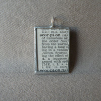 Scorpion, vintage dictionary illustration up-cycled to soldered glass pendant