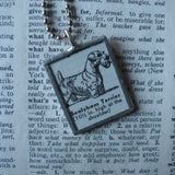 Sealyham Terrier dog, vintage 1940s dictionary illustration, up-cycled to hand-soldered glass pendant, with choice of necklace, bookmark or keychain