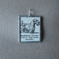 Sealyham Terrier dog, vintage 1940s dictionary illustration, up-cycled to hand-soldered glass pendant