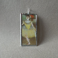 Edgar Degas, ballet dancer, Impressionist painting, upcycled to soldered glass pendant