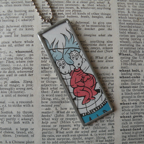 Thing One and Thing Two, original illustrations from vintage book, up-cycled to soldered glass pendant