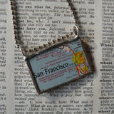 San Francisco, California, vintage road map up-cycled to hand soldered glass pendant