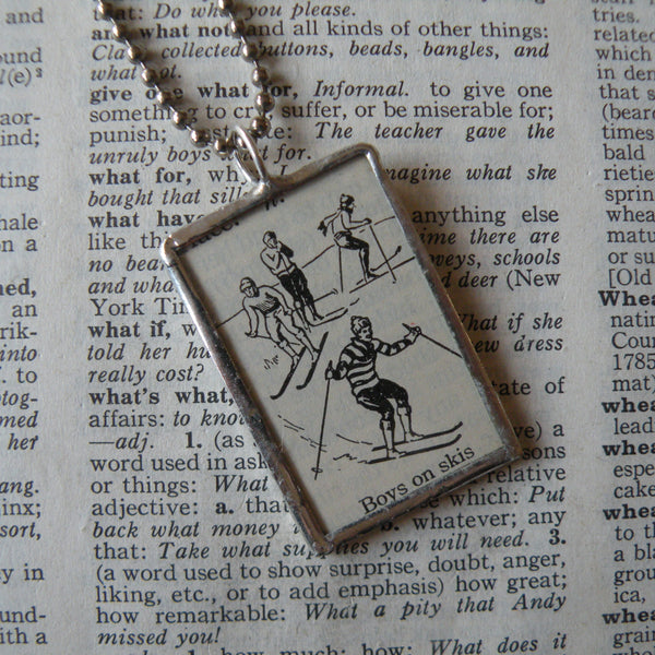 1Boys on Skis, ski, skiing, 1940s dictionary illustration, upcycled to soldered glass pendant
