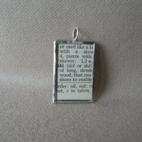 Boys on Skis, ski, skiing, 1940s dictionary illustration, upcycled to soldered glass pendant
