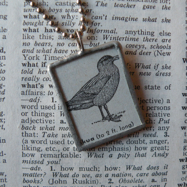 Skua bird, vintage 1940s dictionary illustration upcycled to soldered glass pendant