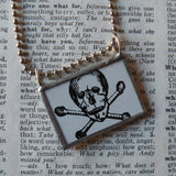 Vintage skull and crossbones, heart and arrow tattoo designs upcycled to soldered glass pendant, choice of necklace