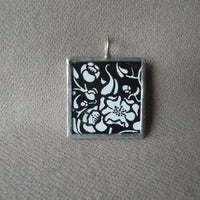 1Skull and crossbones illustration, up-cycled to 2-sided, soldered glass pendant