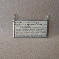 Skunk, vintage 1930s dictionary illustration, up-cycled to hand-soldered glass pendant