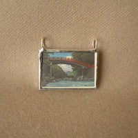 Japanese Woodblock Print, temple in snow, bridge,, upcycled to soldered glass necklace