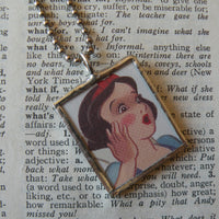 Snow White, Evil Queen, vintage illustrations, up-cycled to soldered glass pendant