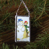 Snowman, snowball fight, vintage European Christmas postcard, upcycled to hand-soldered glass Christmas tree ornament