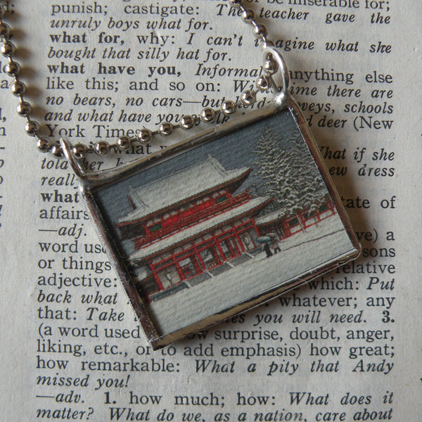 Japanese Woodblock Print, temple in snow, lotus on pond, upcycled to soldered glass necklace